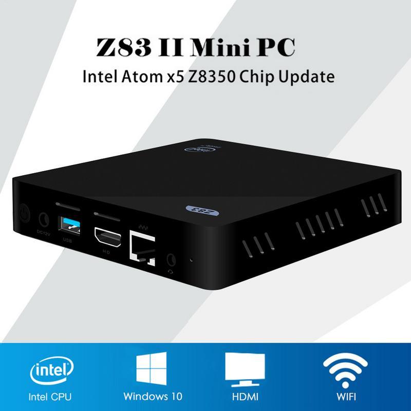 Mini PC Intel Atom X5-Z8350 Quad Core Windows 10 64Bit Bluetooth 4.0 HDMI 2.4G 5.8G WiFi TV Box médias Palyer X86 LAN