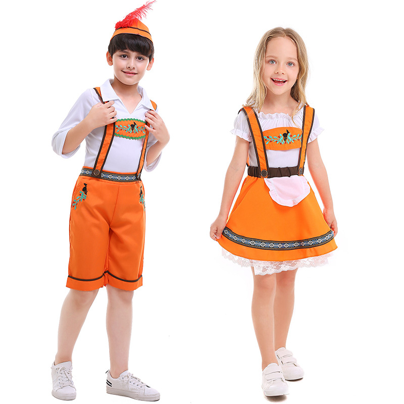 Kids Oktoberfest Beer Costume German Beer Girl Boys Costume Cosplay Dress Halloween Carnival Party Clothing For Children