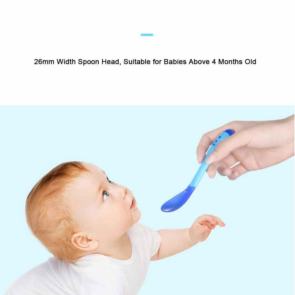 ทารกแรกเกิดทารกช้อนส้อมความปลอดภัยอุณหภูมิ Sensing เด็กช้อน Flatware สีสุ่ม