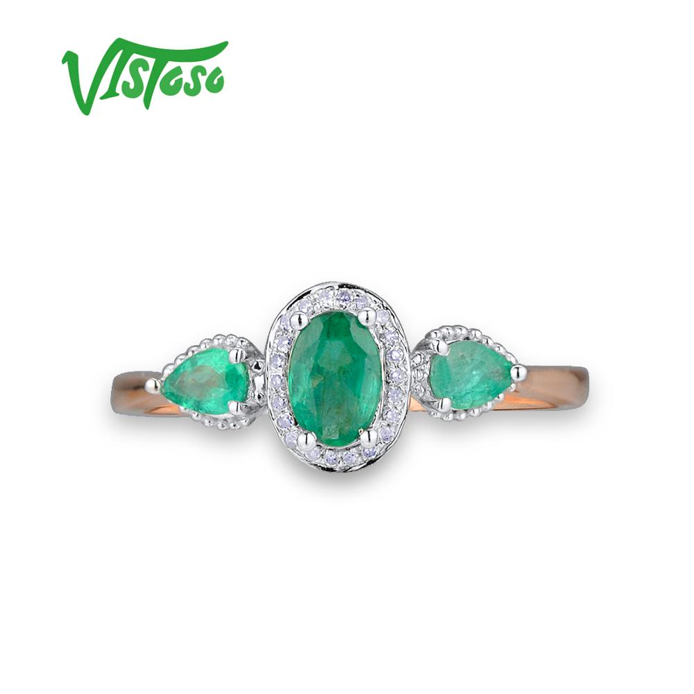 Image 2 - VISTOSO Gold Rings For Women Genuine 14K 585 Rose Gold Ring Magic Emerald Sparkling Diamond Engagement Anniversary Fine Jewelry-in Rings from Jewelry & Accessories