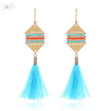 Badu Vintage Earrings For Women Stainless Steel Boho Feather Tassel Jewelry Long pendientes