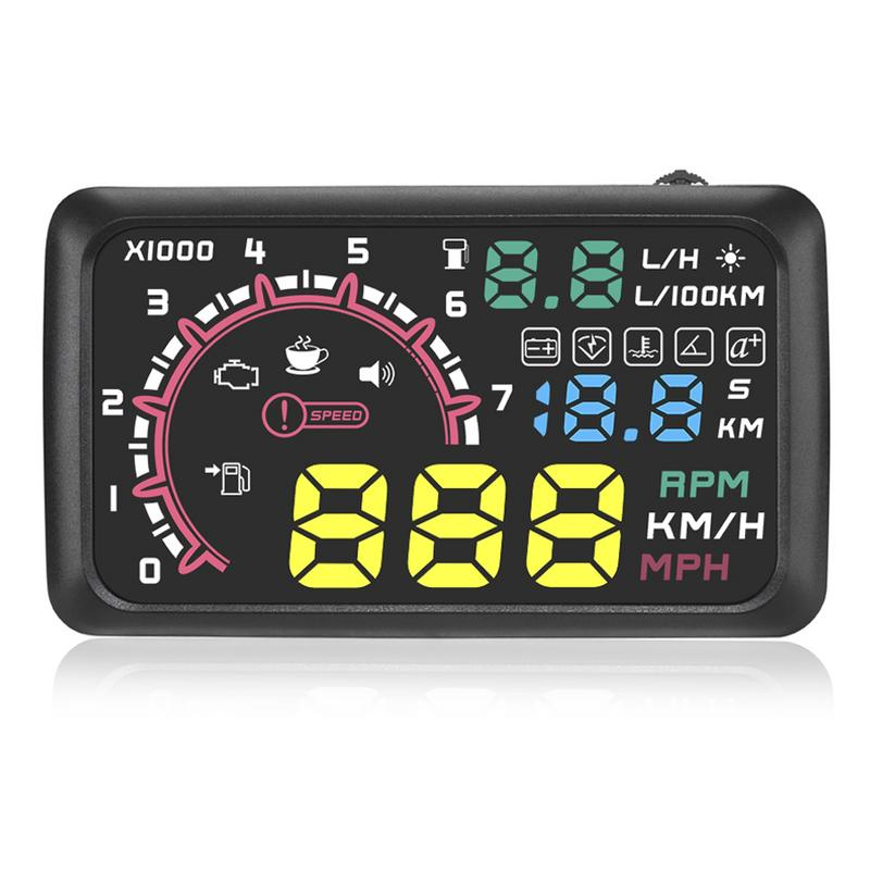 5.5 Inch Car HUD Head-up Display OBD2 Overspeed Warning System Projector Windshield Auto Electronic Voltage Alarm