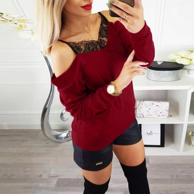 Fashion Women Shirt blusas Lace Neck Cold Shoulder Long Sleeve Tops Blouse Women Camisas Mujer SJ1395A