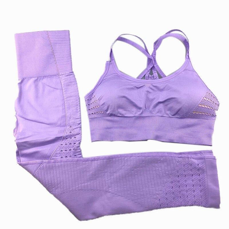 Nepoagym Yoga Set Women's Tracksuit Bra Set 2pcs High Waist Leggings Pants Sportswear Women Gym Clothes Suit for Fitness Female