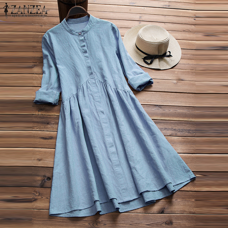 ZANZEA Women Button Down Dress Elegant Lady Cotton Linen Vestido Female Mandarin Collar Dresses Robe Femme Sundress Plus Size