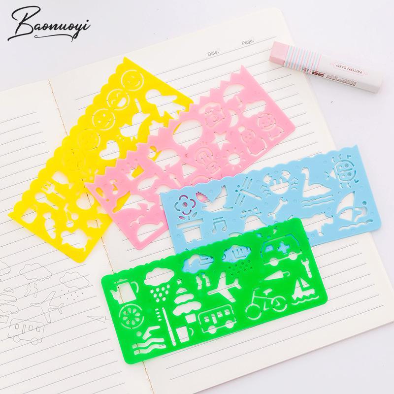 4Pcs/Set Kawaii Art Graphics Symbols Drawing Template Stationery Candy Colorful Ruler Students Drafting Ruler School Supplies