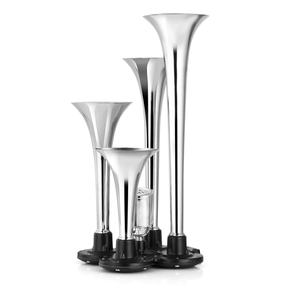 125DB 12V 4 Trumpet Chrome Air Horn Withstand Rust Easy Installation Train Horn For 12V System