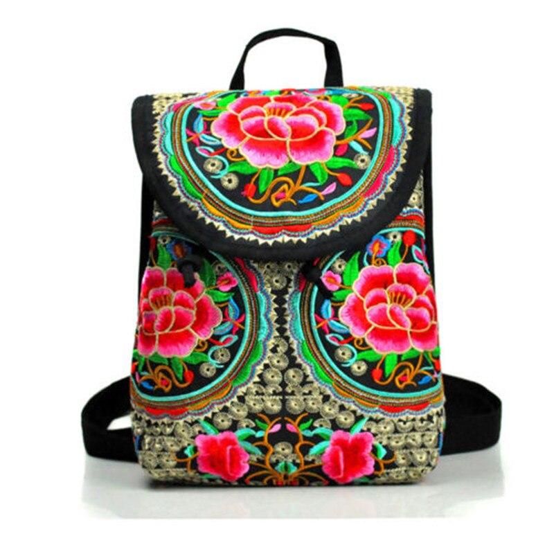 Women's Floral Embroidered Backpack Ethnic Travel Bookbag Crossbody Shoulder Bag