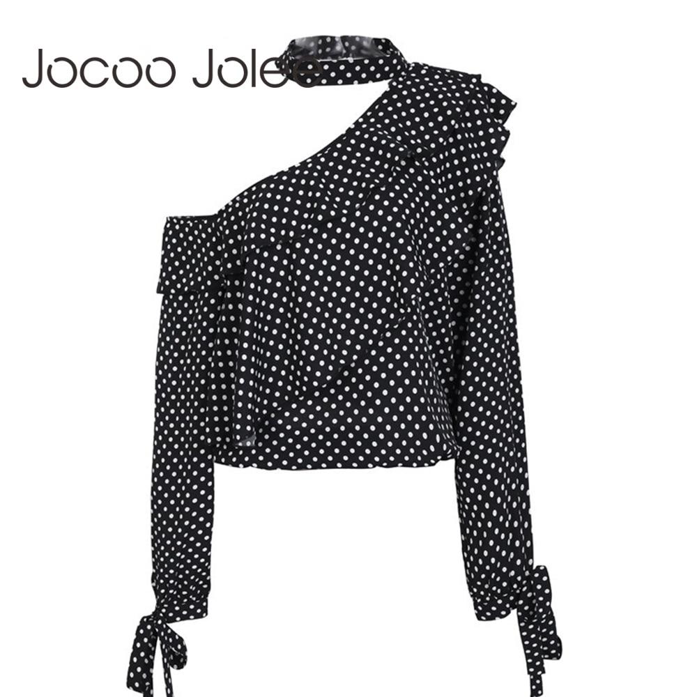 Jocoo Jolee One Shoulder Polka Dot Blouse Shirt Retro Ruffle Lantern Sleeve Chiffon Blouse Sexy Bow Women Summer Blouses 2018