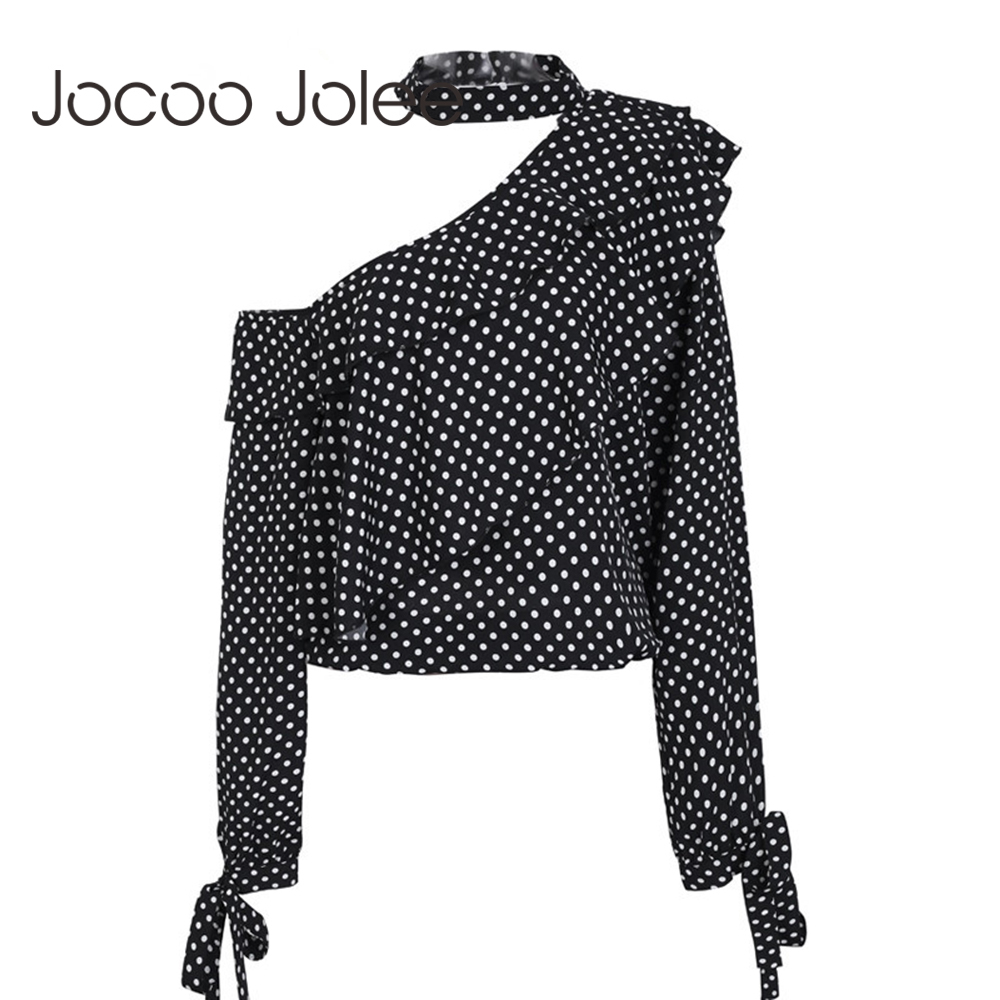 Jocoo Jolee One Shoulder Polka Dot   Blouse     Shirt   Retro Ruffle Lantern Sleeve Chiffon   Blouse   Sexy Bow Women Summer   Blouses   2018