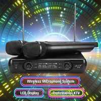 2 Channel Dual Cordless Handheld Mic Wireless Microphone System With LCD Display EU/UK High-fidelity Stability Large Receiving