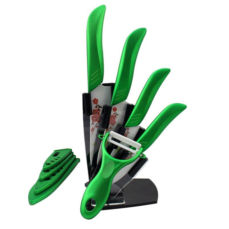 Ensemble de couteau de couleur verte de cuisine de cadeaux de beauté ensemble de couteau en céramique éplucheur + ensemble de couteau de couvertures