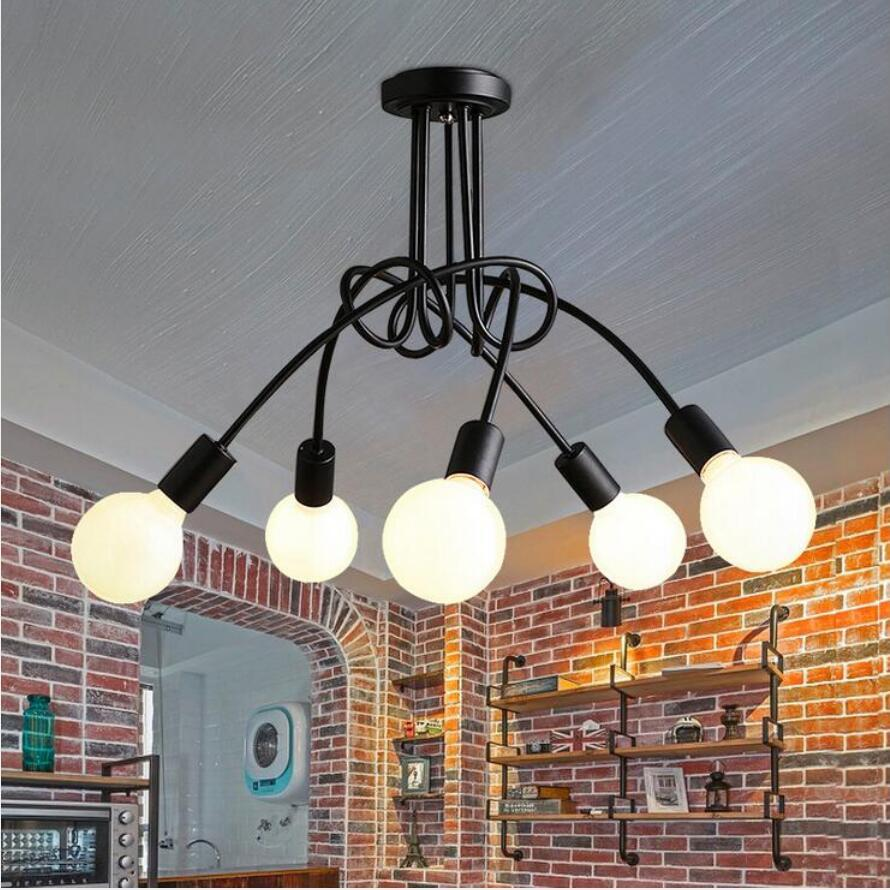 Simple Iron Chandeliers European Led Lamps Living Room Lamps Pendant Crooked Chandelier Black/white E27 Led Lustre Chandeliers 3Simple Iron Chandeliers European Led Lamps Living Room Lamps Pendant Crooked Chandelier Black/white E27 Led Lustre Chandeliers 3