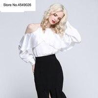 2018 Новый сезон: весна–лето рюшами Фонари рукавом блузка рубашка Холтер шеи со спущенными плечами Для женщин Sexy шифон Blusa Feminina B1088