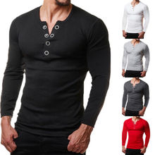 Fashion Men's Slim Fit V Neck T-shirt Muscle Tee Casual Tops Long Sleeve  T-shirt slim fit v neck long sleeve button tee