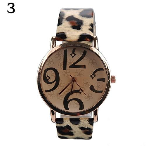 <font><b>Unisex</b></font> Fashion <font><b>Big</b></font> Arabic Numerals Analog Faux Leather Band Quartz Wrist <font><b>Watch</b></font> new image
