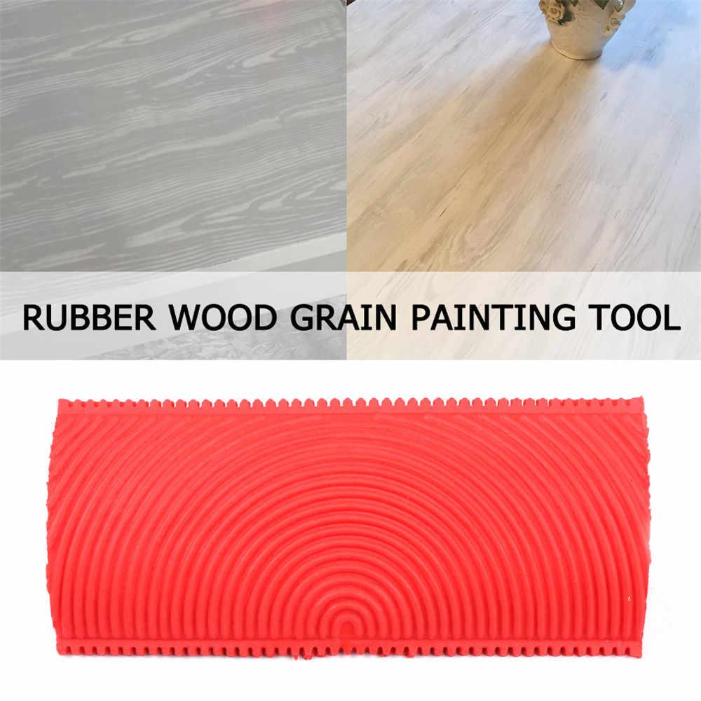 2pcs Rubber Wood Grain Paint Roller Brush DIY Graining Painting Tool Red Blue