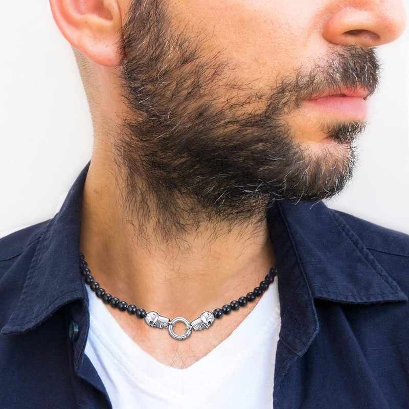 Men Hippie Choker Black Natural Carnelian Stone Beaded with Stainless Steel Skull Gothic Necklace Jewelry 20in