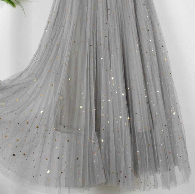 VITIANA Women Casual Lace Pleated Skirts New 2019 Spring Summer Female Chiffon High Waist Black Stars Sweet Pleated long Skirt