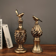 MRZOOT 2PC Golden Bird Roman Column Decoration Resin Complex Sculpture Home Retro Creative Magpie Statue