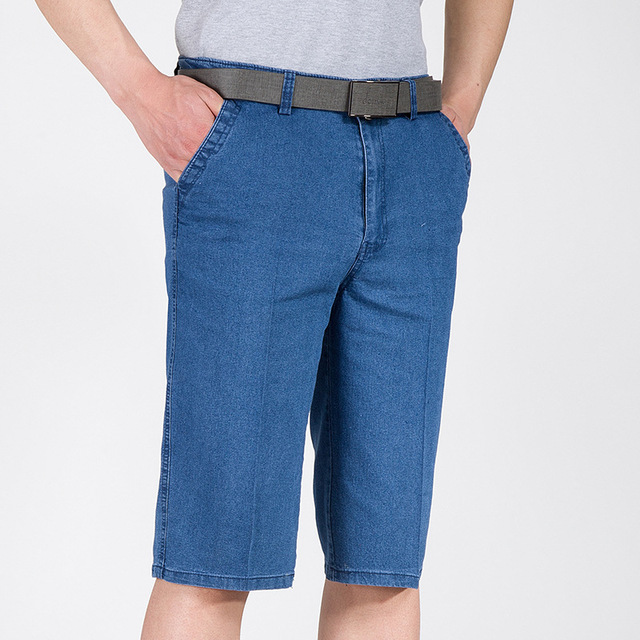 Calças de Brim dos homens shorts de Cintura Alta de algodão Elástico curto harajuku Trecho shorts Jeans casuais de Trabalho cor Sólida calças soltas masculino 2019