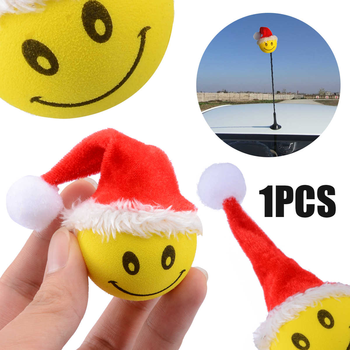 MAYITR Christmas Smiley Happy Face Santa Claus Car Antenna Topper Cartoon  Ball Aerial Pen Topper Car Roof Accessories