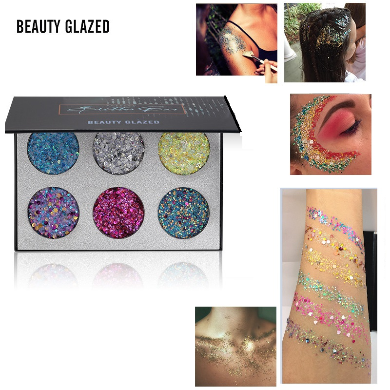 Beauty & Health 6 Color Glitter Makeup Eyeshadow Palette Children Stage Festival Party Makeup Shimmer Sequins Glitter Eye Shadow Palette Tslm1