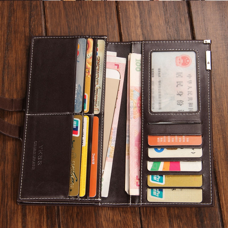 Youth Men 39 s Wallet Long Section Cross Section Card Position Lychee Wallet in Wallets from Luggage amp Bags