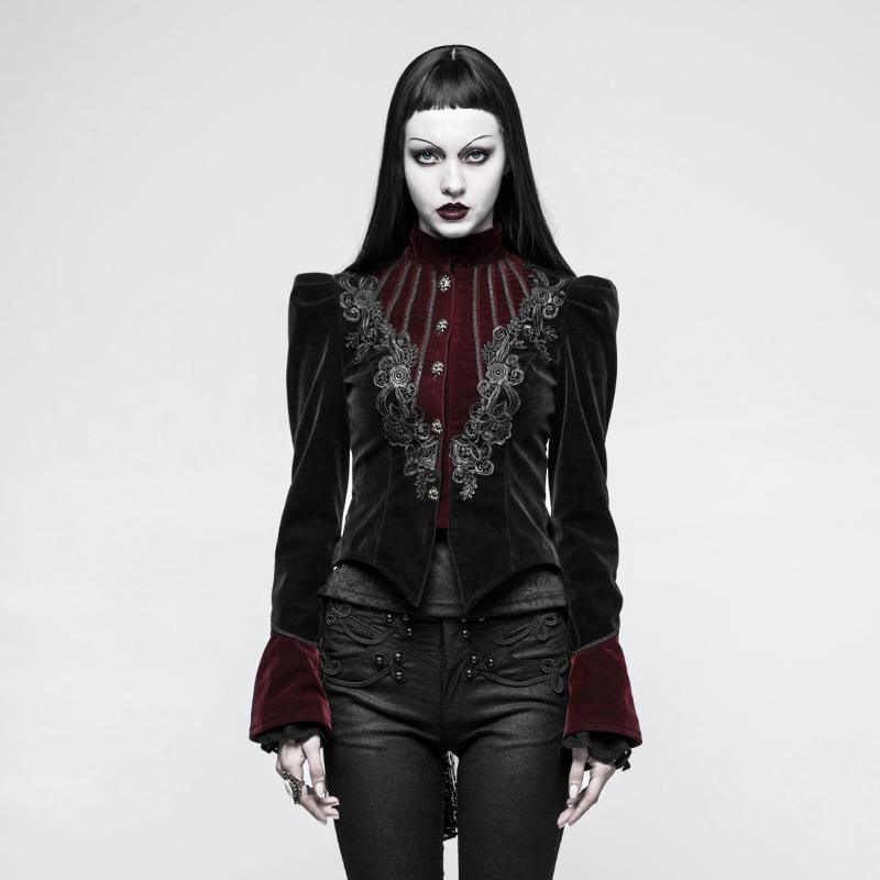 Punk Rave Women's Gothic Stand Collar Forked Tail Velvet Jackets Y 769