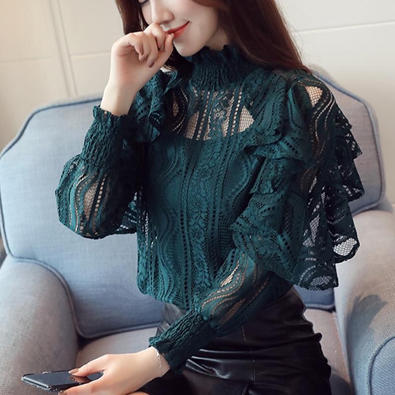 Ruffle lace blouse shirt women Hollow out floral black blouse female tops Elegant fashion chiffon blouse autumn 2019  911B