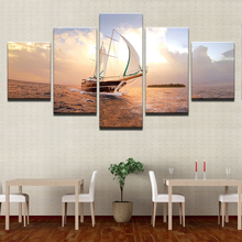 HD Prints Pictures Modular Canvas Wall Art Framework 5 Pieces Sunset Sailboat Seascape Paintings Home Decor Boat Sailing Posters sailing boat seascape waterproof wall tapestry