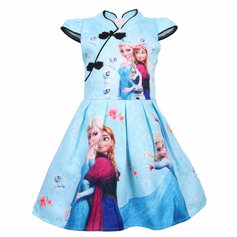 Summer Girls Snow Queen Anna Elsa Cosplay Costume Snow Floral Print Princess Dresses Kids Birthday Party Clothes
