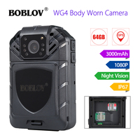 BOBLOV WG4 64G Wearable Security Body Camera WiFi 4G/3G GPS Body Worn Camera Night Vision 1080P Police Video Cam Extra Battery