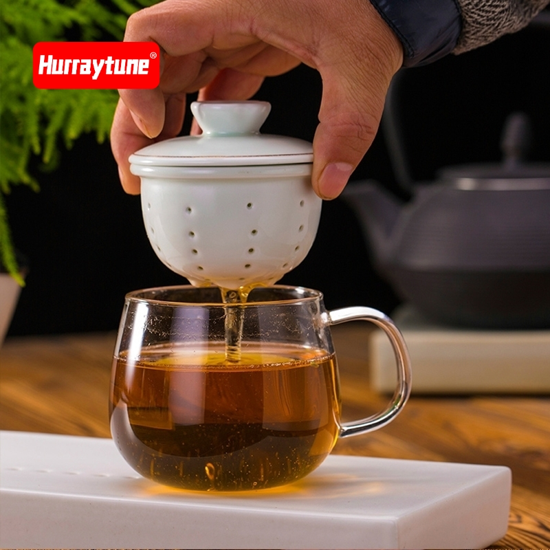 Domestic filter tea ceramic cup transparent water cup with cover office meeting room tea cup heat resistant glass with cover