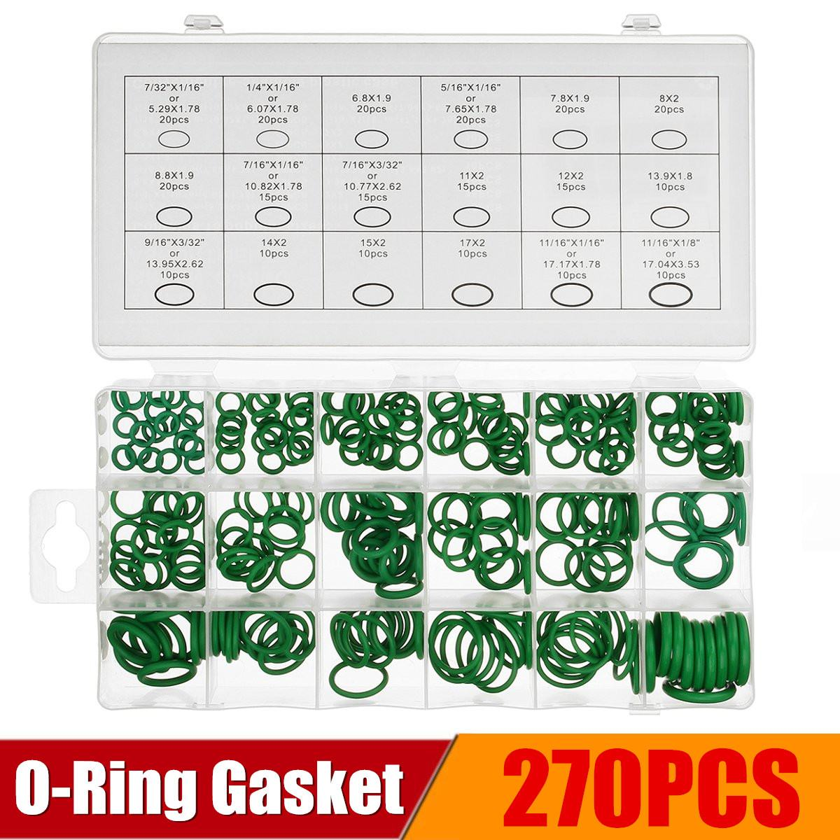 270Pcs/Lot Nitrile Rubber Gaskets O-Ring Washer Assortment Gasket Seal Kits Hardware High Pressure Temperature Resistance Green 270Pcs/Lot Nitrile Rubber Gaskets O-Ring Washer Assortment Gasket Seal Kits Hardware High Pressure Temperature Resistance Green