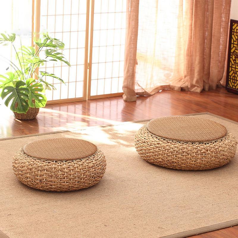 Tatami paille coussin balcon sol épais rotin coussins Zafu méditation herbe Futon rond paille armure à la main oreiller sol
