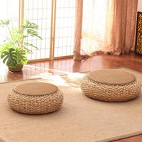 Tatami Straw Cushion Balcony Floor Thick Rattan Cushions Zafu Meditation Grass Futon Round Straw Weave Handmade Pillow Floor