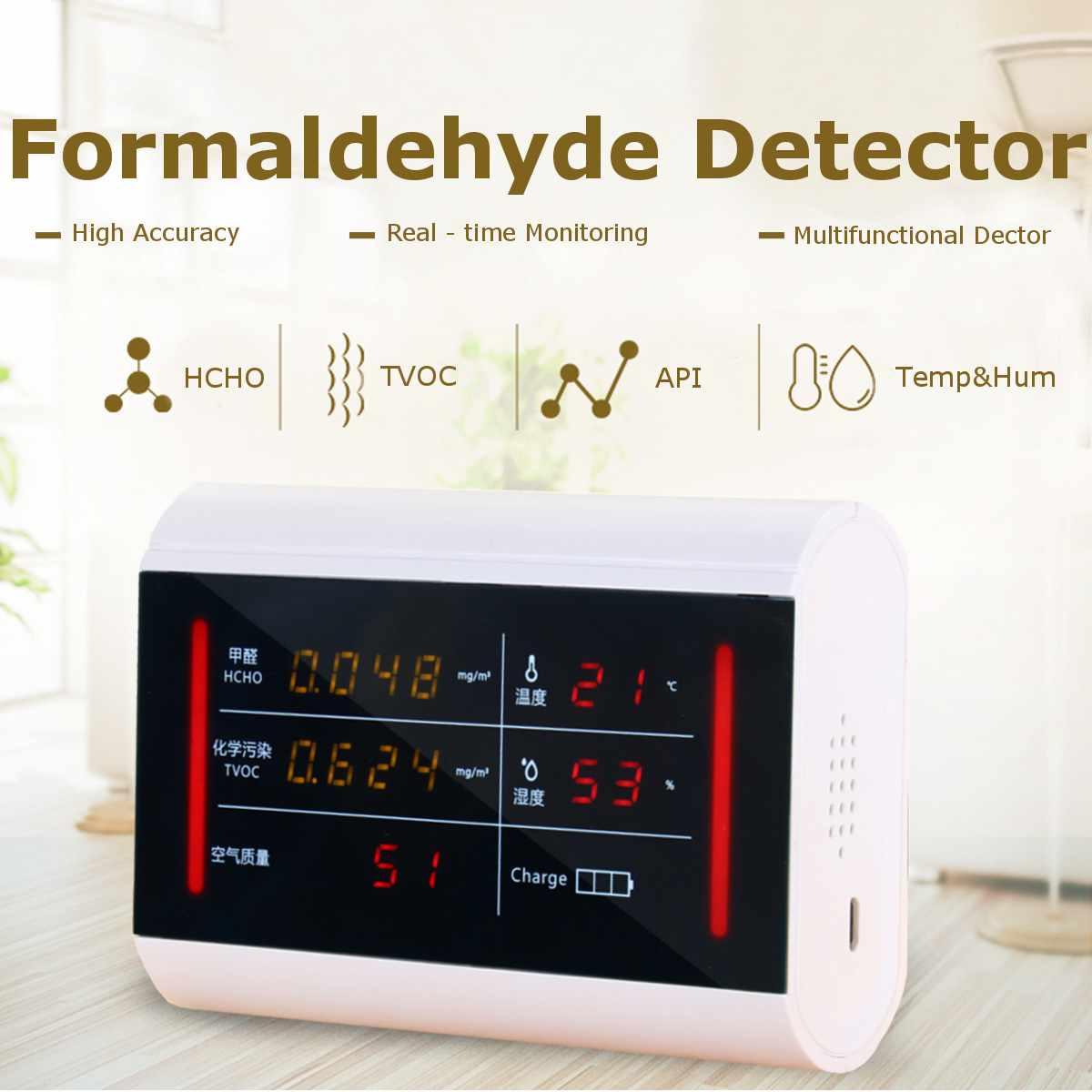 HOCO TCOV API Air Qualité Monitor Pollution Formaldéhyde Détecteur Accueil Intérieur Haute Sensibilité Capteur Sauvegarde Détection en Temps