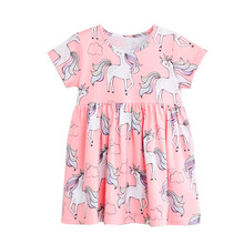 цены Girls Dress Baby Princess Dress Kids Cartoon Unicorn Printed Girls Dresses Children Clothes Kids Floral Dress