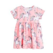 Girls Dress Baby Princess Dress for Kids Cartoon Unicorn Printed Girls Dresses Summer Children Clothes Kids Floral Dress