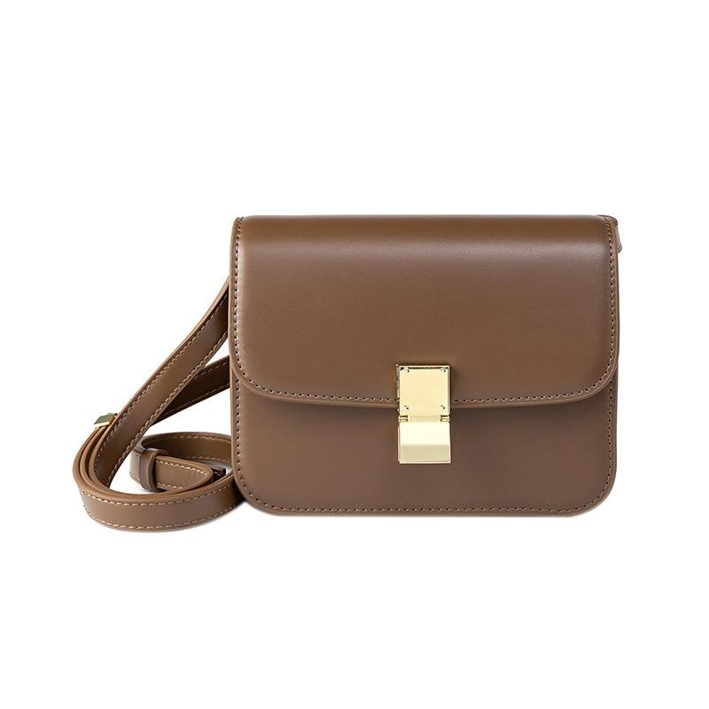 Sendefn WomenS Vintage Casual Leather Lock Strap Tofu PouchSendefn WomenS Vintage Casual Leather Lock Strap Tofu Pouch