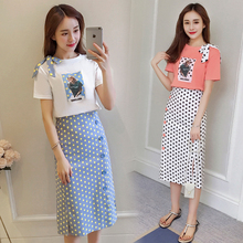 new Korean fashion women casual suits T-shirt bow sweatshirt & long pot print cutout skirts 2 pcs clothing set outfit S-XL