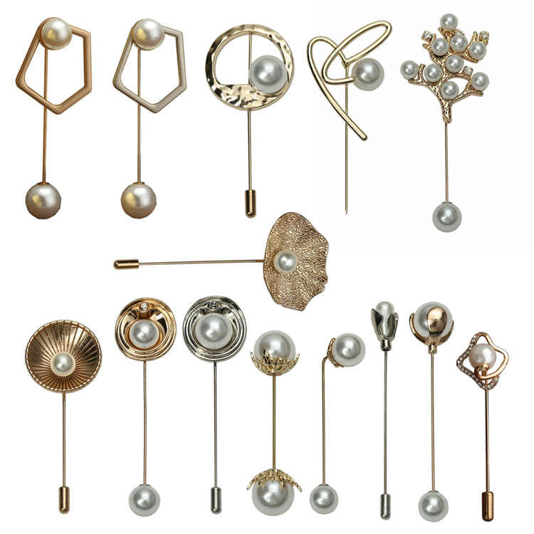 i-Remiel Long Needle Brooch Pin Pearl Buckle Button Safety Pins and Brooches for Women Shawl Cardigan Shirt Collar Accessories