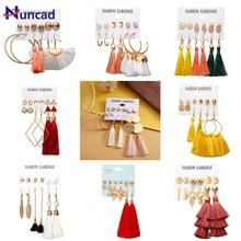 Bohemian Circle Ball Leaf Earring Long Tassel Drop Earrings Set For Women 2019 Fashion Geometric Earring Brincos Female Jewelry цена