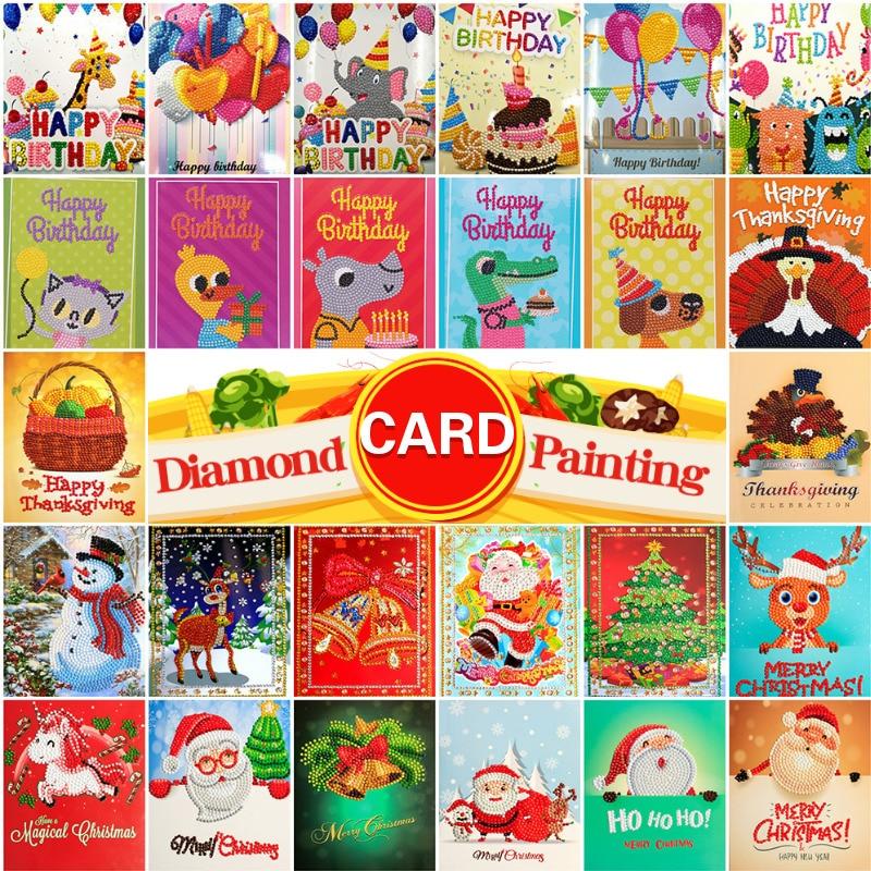 AZQSD Diamond Painting Cards Happy Birthday Diamond Embroidery Christmas&Thanksgiving Greeting Card Children's Handmade Gift DIY