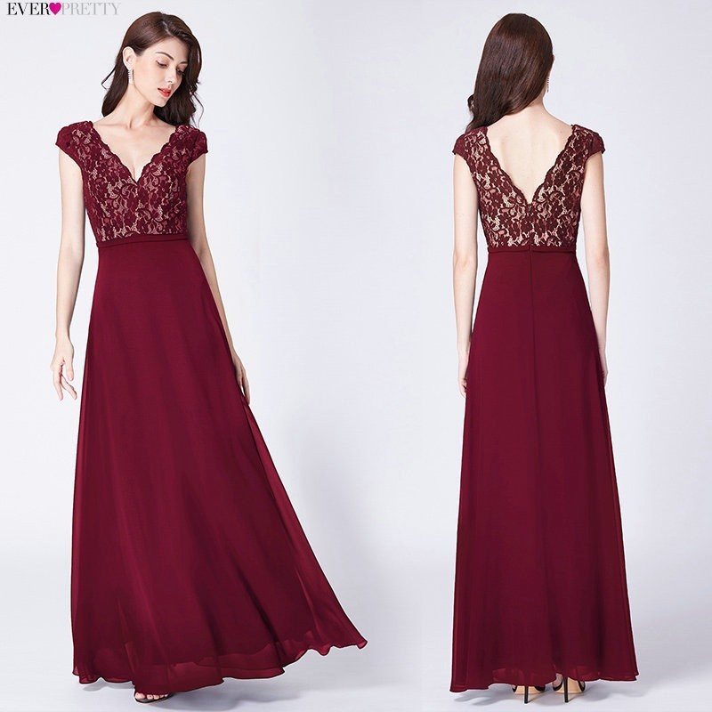 Ever Pretty Robe De Soiree 2019 Long Lace Evening Dresses Elegant A Line V Neck Short Sleeves Black Formal Party Gowns EP07344BK in Evening Dresses from Weddings Events