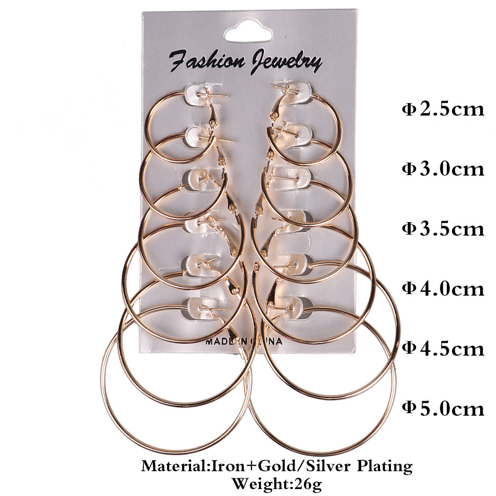 earrings for women 6Pairs set Vintage Silver Gold Big Circle Women Steampunk Ear Clip Metal