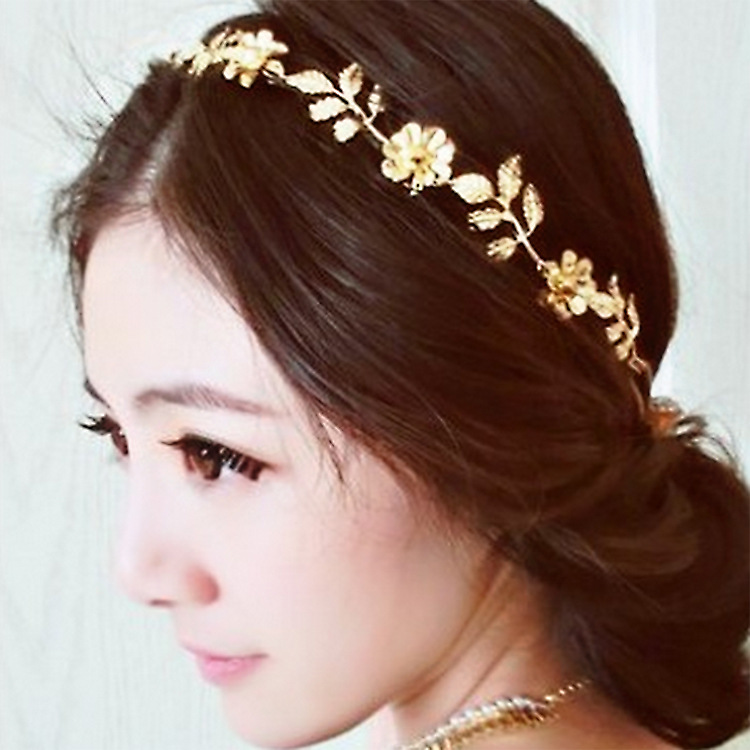 Women Lady Alloy Rhinestone Flower Head Chain Jewelry Headband Hairband Gift