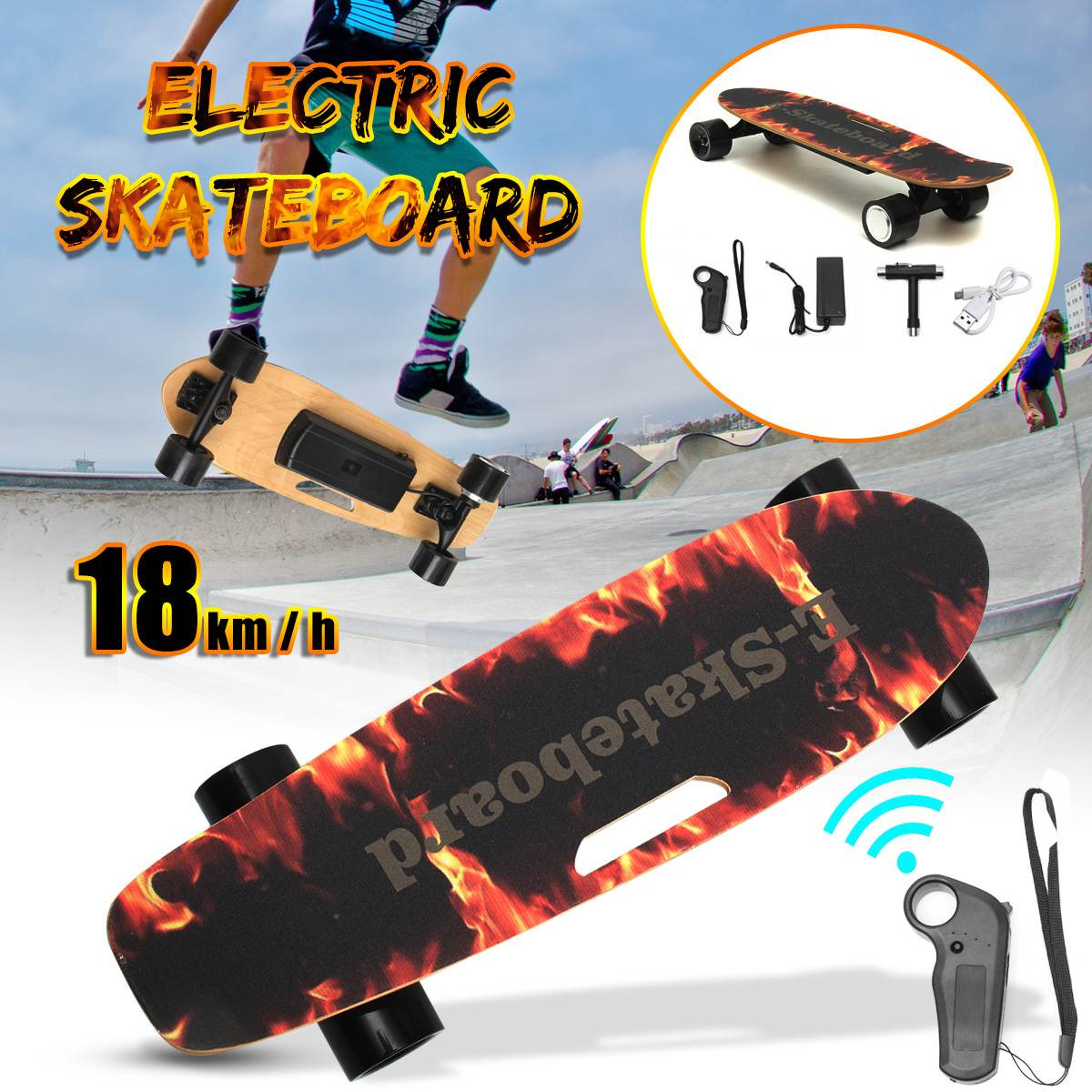 Electric Skateboard Four-wheel Longboard Skate Board Maple Deck Wireless Remote Controll For Adult Children