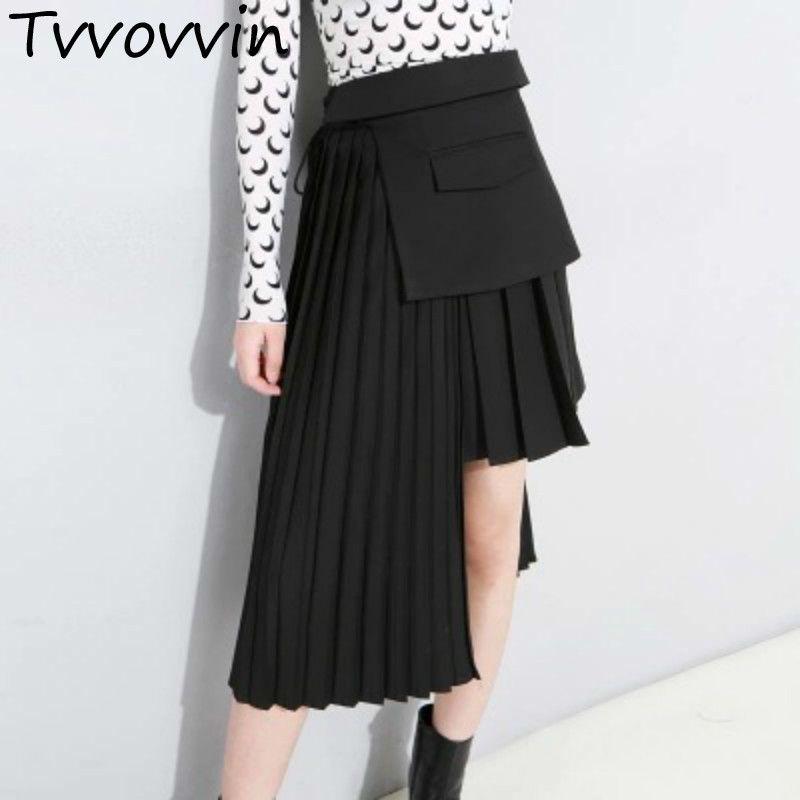 TVVOVVIN 2019 Spring New Irregualr Pleated Skirt High Waist All match Female's Asymmetrical Bandage Design Bottoms L450